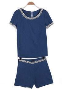 Navy Short Sleeve Pearls Denim T-Shirt With Shorts