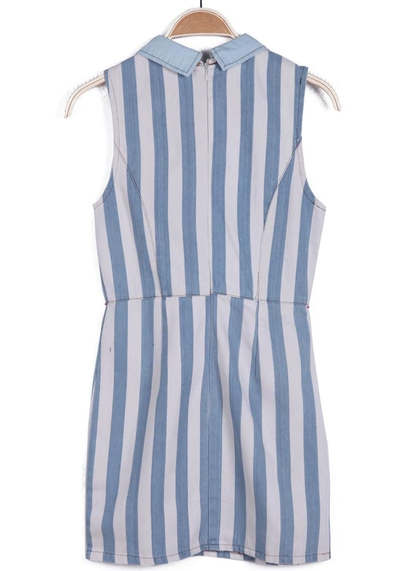 Blue White Lapel Vertical Stripe Denim Dress Shein Sheinside