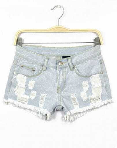 Light Blue Ripped Pockets Denim Shorts