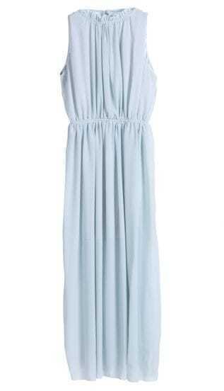 Blue Sleeveless Backless Pleated Chiffon Dress