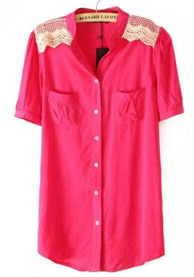 Rose Red Short Sleeve Lace Shoulder Chiffon Blouse