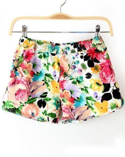 White Elastic Waist Floral Shorts