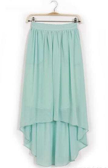 Blue Elastic Waist High Low Chiffon Skirt