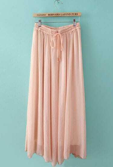 Pink Drawstring Waist Pleated Chiffon Skirt