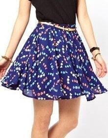 Blue Bow Print Belt Chiffon Skirt