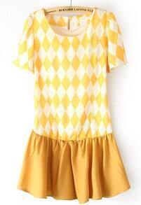 Yellow Short Sleeve Diamond Print Side Zipper Dress