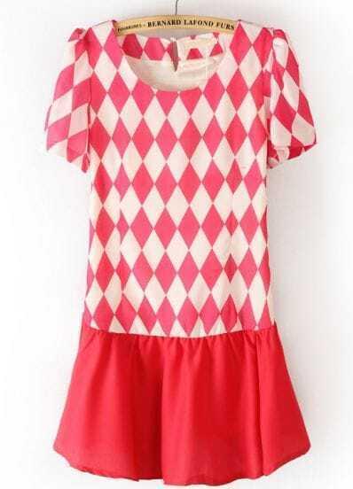 Rose Red Short Sleeve Diamond Print Side Zipper Dress