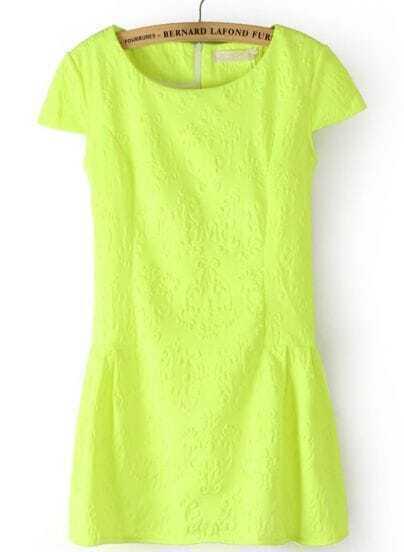 Green Short Sleeve Back Zipper Pattern Dress