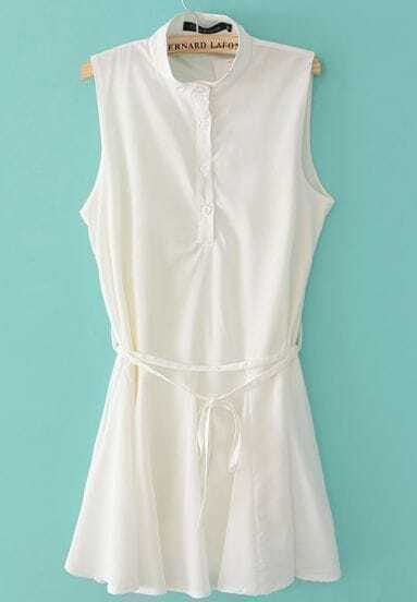 White Stand Collar Sleeveless Belt Tank Dress