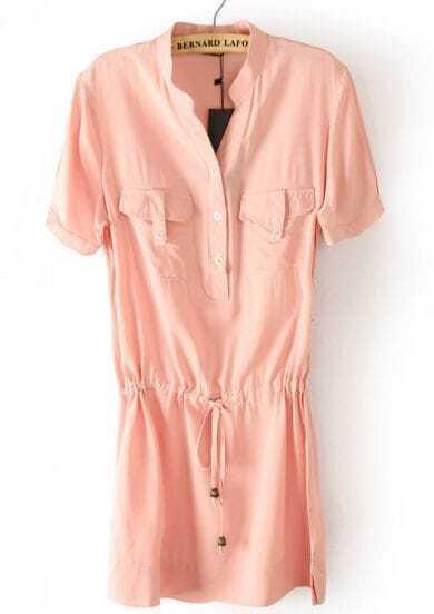 Pink Short Sleeve Drawstring Pockets Chiffon Dress