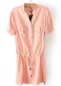 Pink Short Sleeve Drawstring Pockets Chiffon Dress