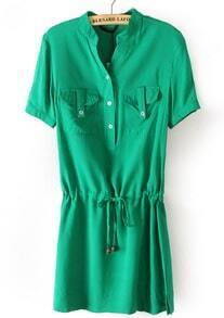 Green Short Sleeve Drawstring Pockets Chiffon Dress
