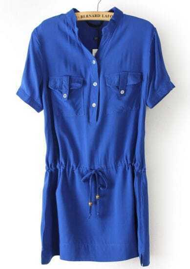 Blue Short Sleeve Drawstring Pockets Chiffon Dress