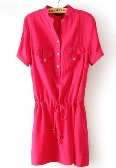 Rose Red Short Sleeve Drawstring Pockets Chiffon Dress