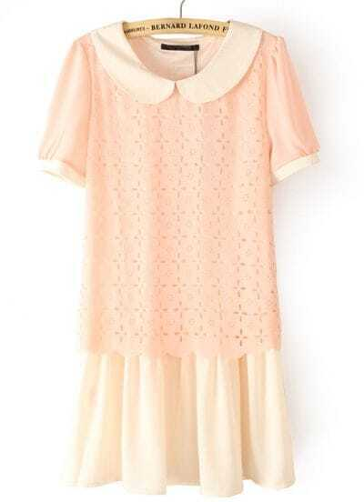 Pink Lapel Short Sleeve Hollow Chiffon Dress