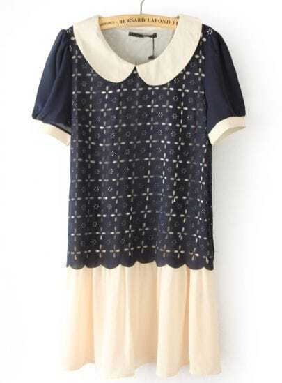 Navy Lapel Short Sleeve Hollow Chiffon Dress
