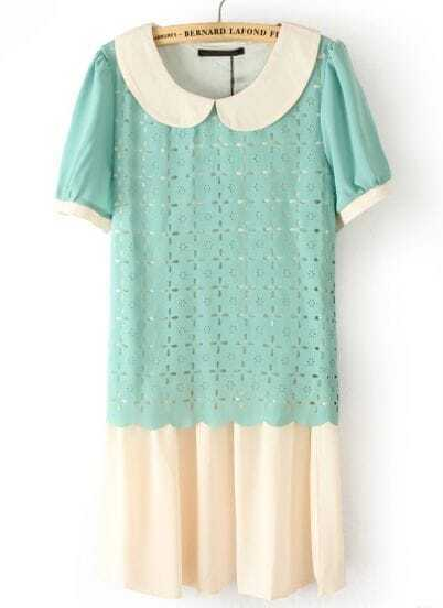 Green Lapel Short Sleeve Hollow Chiffon Dress