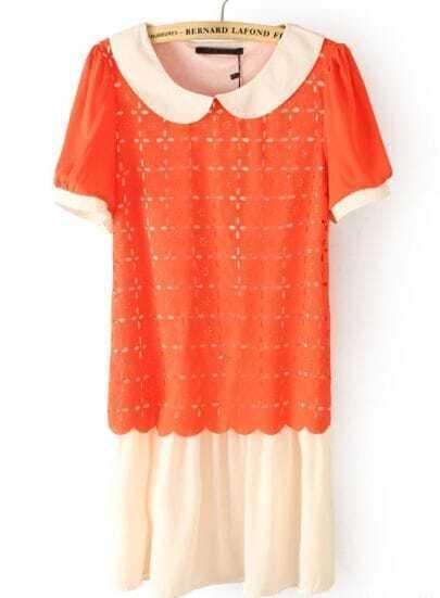 Orange Lapel Short Sleeve Hollow Chiffon Dress