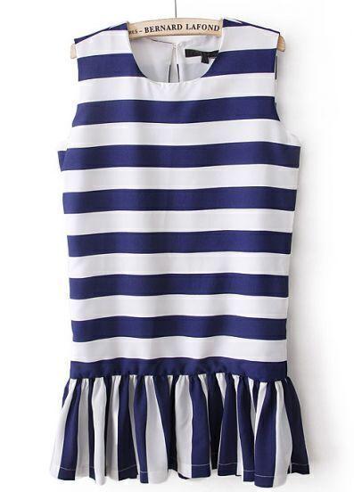 Navy White Sleeveless Striped Ruffles Dress