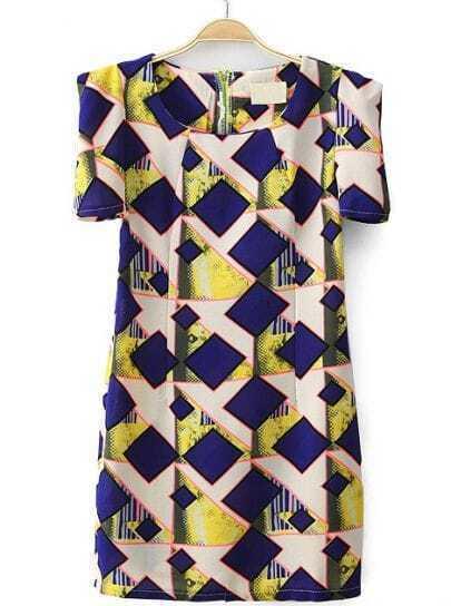 Blue Half Sleeve Zipper Geometric Print Dress