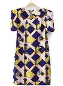 Blue Half Sleeve Zipper Geometric Print Dress