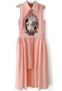 Pink Sleeveless Retro Print Asymmetrical Dress