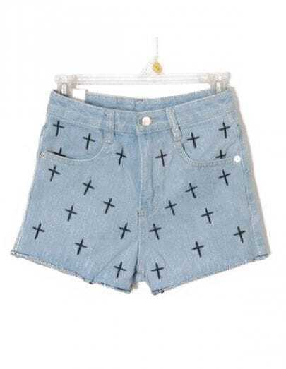 Blue High Waist Cross Embroidery Denim Shorts