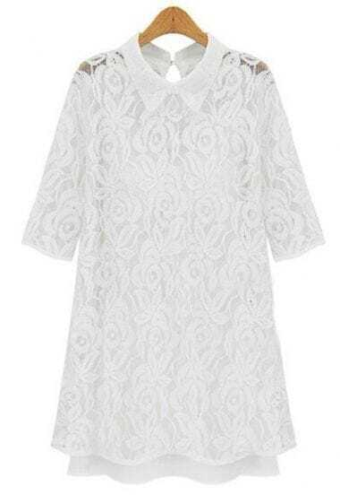 White Lapel Half Sleeve Embroidery Lace Dress