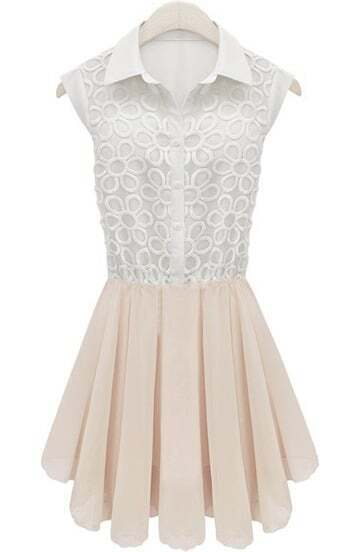 White Sleeveless Embroidery Pleated Lace Dress