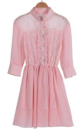 Pink Long Sleeve Contrast Lace Chiffon Dress