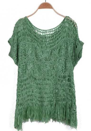 Green Short Sleeve Hollow Tassel Sweater