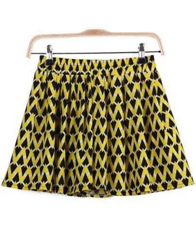 Yellow Elastic Waist Geometric Print Skirt