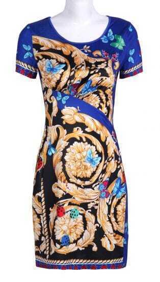 Blue Short Sleeve Butterfly Floral Print Dress