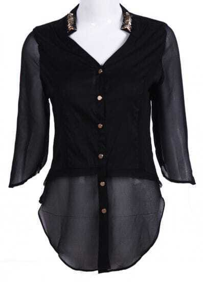 Black Metal Embellished Contrast Chiffon Blouse