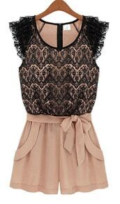 Pink Black Sleeveless Lace Belt Jumpsuit