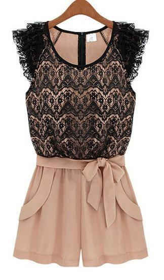 Pink Black Sleeveless Lace Belt Jumpsuit