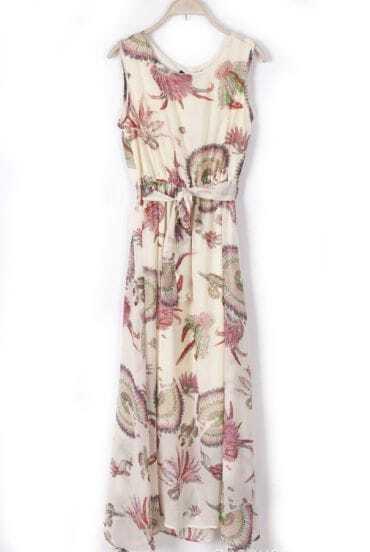 Beige Sleeveless Drawstring Waist Floral Dress