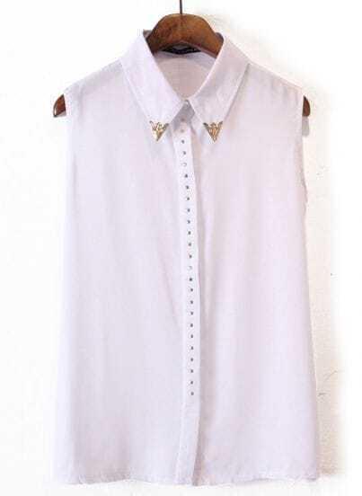 White Sleeveless Metal Embellished Chiffon Blouse