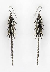 Silver Leaves Chain Tassel Dangle Earrings