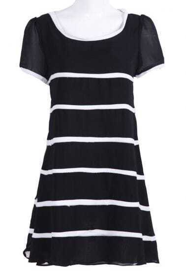 Black Round Neck Short Sleeve Contrast Stripes Shift Dress