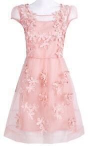 Pink Short Sheer Sleeve 3D Flowers A-line Dress