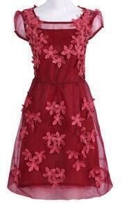 Dark Red Short Sheer Sleeve 3D Flowers A-line Dress