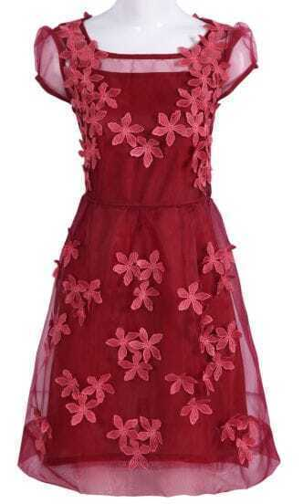 Dark Red Short Sheer Sleeve 3D Flowers A-line Dress