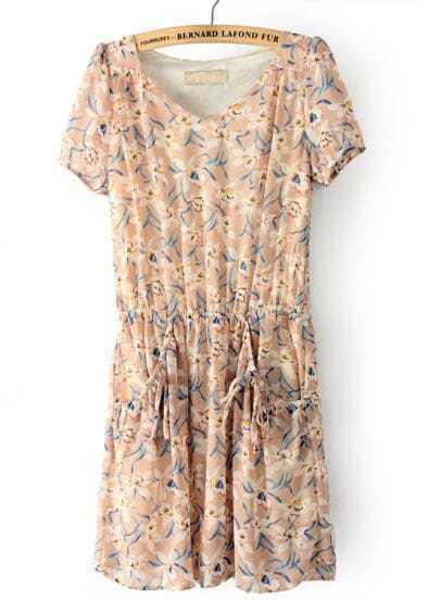 Pink Short Sleeve Floral Drawstring Chiffon Dress