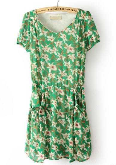 Green Short Sleeve Floral Drawstring Chiffon Dress