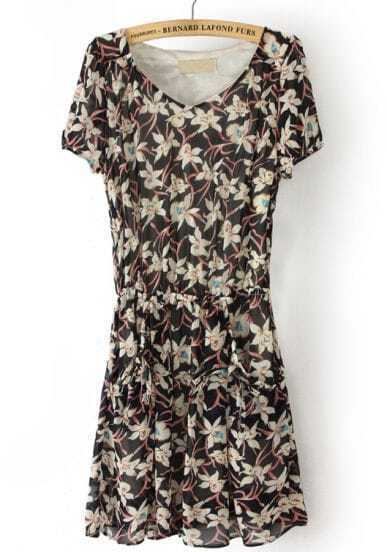 Black Short Sleeve Floral Drawstring Chiffon Dress