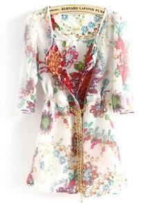 White Half Sleeve Floral Chain Chiffon Outerwear