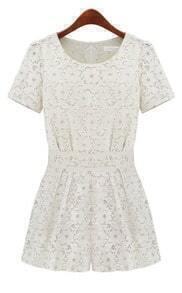 White Short Sleeve Overlay Lace Bandeau Jumpsuit
