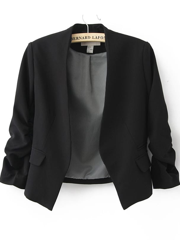 Black Collarless Ruched Sleeve Crop Back Blazer -SheIn(Sheinside)