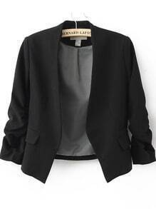 Black Collarless Ruched Sleeve Crop Back Blazer